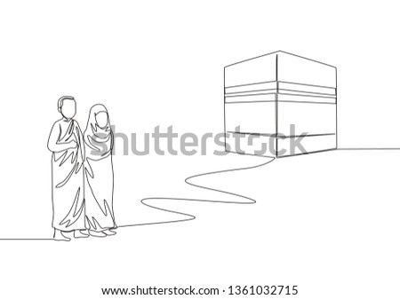 Single continuous line drawing of muslim and muslimah pilgrim walk to holy place Kaabah at Mecca, Saudi Arabia. Muslim holiday, Eid al Adha greeting card concept one line draw design illustration