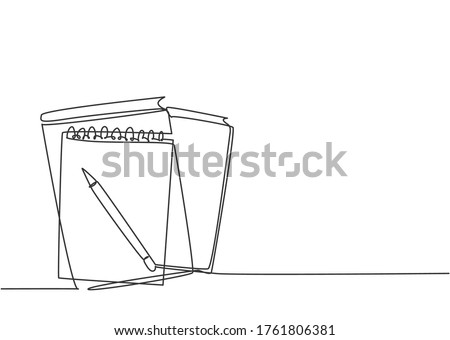 Single continuous line drawing of notebook or notepad with a pencil above work desk. Writing business draft on office notes concept. Trendy one line draw design vector graphic illustration