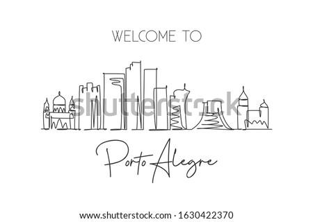 Single continuous line drawing of Porto Alegre city skyline, Brazil. Famous city scraper landscape. World travel destination concept. Editable stroke modern one line draw design vector illustration Foto stock ©