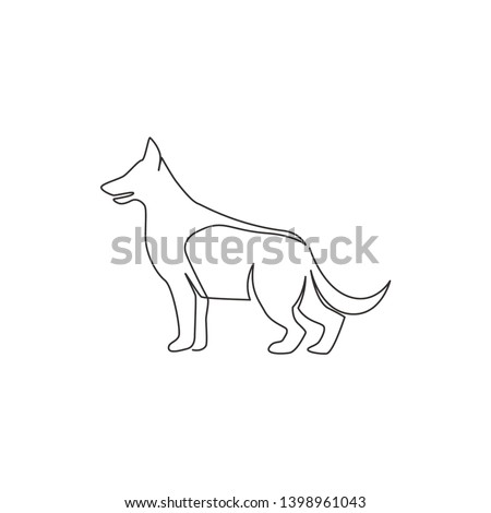 Single continuous line drawing of simple cute german shepherd puppy dog icon. Pet animal logo emblem vector concept. Trendy one line draw design graphic illustration Photo stock ©