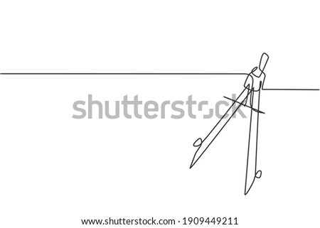 Single continuous line drawing of springbow compass for drawing circle. Back to school minimalist style. Bow compass, education concept. Modern one line draw graphic design vector illustration