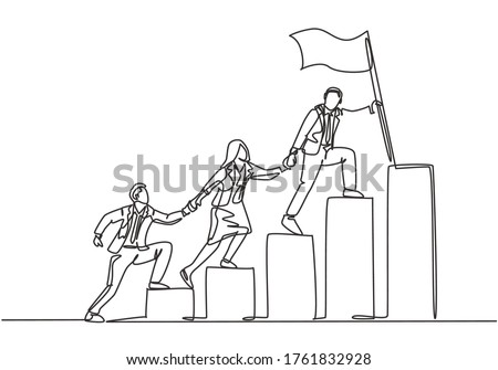 Single continuous line drawing of team members holding hands together following their leader who hold flag climbing up stairs step by step. Teamwork concept one line draw design vector illustration
