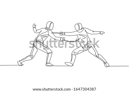 Single continuous line drawing of two young pro fencer athlete women in fencing mask and rapier duel at gym arena. Fighting sport competition concept. Trendy one line draw design vector illustration