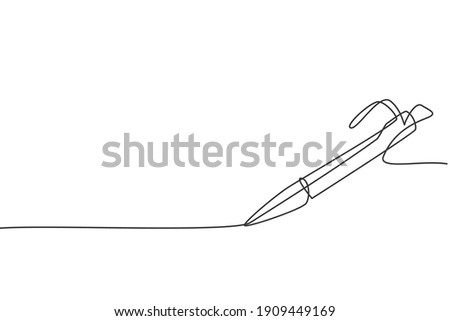 Single continuous line drawing of vintage ballpoint. Pen icon. Back to school minimalist style. Education concept. Modern one line draw graphic design vector illustration Photo stock ©