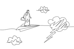 Single continuous line drawing of young Arabian business man entering thunderstorm with flying paper airplane. Minimalism metaphor concept. Dynamic one line draw graphic design vector illustration