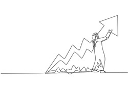Single continuous line drawing of young Arabian businessman reporting increasing financial growth. Business presentation. Minimalism concept dynamic one line draw graphic design vector illustration