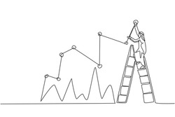 Single continuous line drawing of young Arabian businessman reporting sales progress chart on wall. Professional worker. Minimalism concept dynamic one line draw graphic design vector illustration