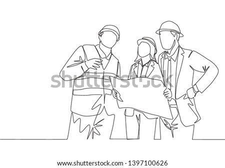 Single continuous line drawing of young architect discussing construction design with foreman manager. Building architecture business concept. One line draw design illustration