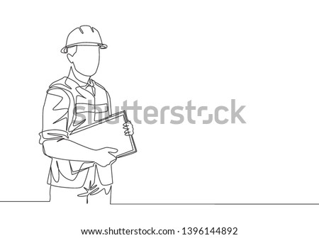Single continuous line drawing of young attractive foreman controlling building development progress while holding clipboard. Building construction service concept one line draw design illustration Stock fotó ©