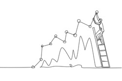 Single continuous line drawing of young business man climbing stair to sign increase market chart. Professional businessman. Minimalism concept dynamic one line draw graphic design vector illustration