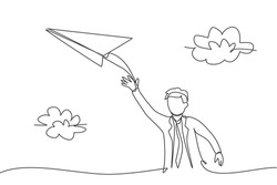 Single continuous line drawing of young business man flies paper airplane into the sky. Professional businessman, metaphor concept. Minimalism dynamic one line draw. Graphic design vector illustration