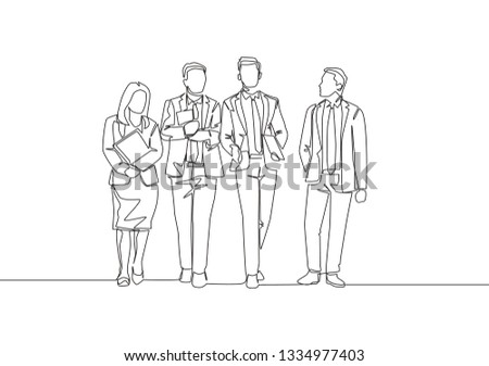 Single continuous line drawing of young businessman and businesswoman walking together and discussing about collaboration new project. Business collaborating concept one line draw design illustration