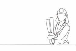 Single continuous line drawing of young female architect holding blueprint paper pose cross arms. Professional work job occupation. Minimalism concept one line draw graphic design vector illustration