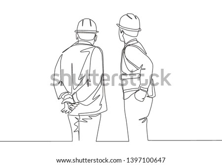 Single continuous line drawing of young foreman construction builder meeting with business owner talking building facility. Building architecture business concept. One line draw design illustration