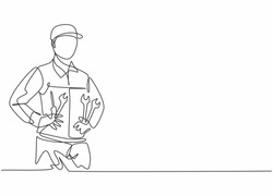 Single continuous line drawing of young man mechanic holding wrench set at car workshop garage. Professional work job occupation. Minimalism concept one line draw graphic design vector illustration