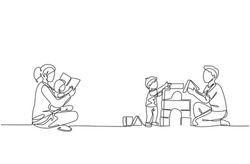 Single continuous line drawing of young mother reading book to daughter and father playing block puzzle house with son at home. Happy family parenting concept. One line draw design vector illustration
