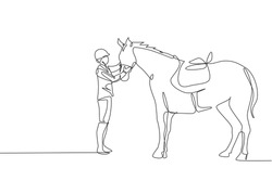 Single continuous line drawing of young professional horseback rider talking wit a horse at the stables. Equestrian sport training process concept. Trendy one line draw design vector illustration