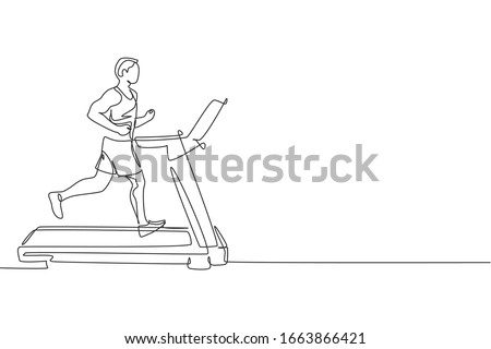 Single continuous line drawing of young sportive man training speed run with treadmill in sport gymnasium club center. Fitness stretching concept. Trendy one line draw design vector illustration