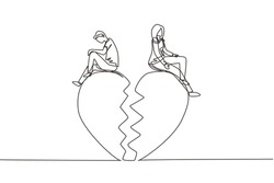 Single continuous line drawing relationship break up, broken heart, couple facing opposite direction. Couple sitting on big broken heart shape. Dynamic one line draw graphic design vector illustration