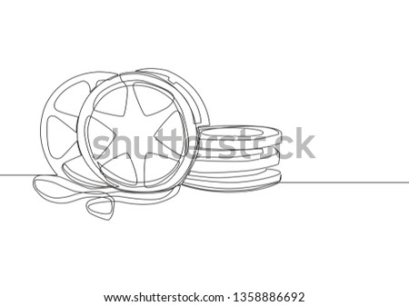 Single continuous line drawing stack of retro old classic cinema video reels. Vintage movie frame filmstrip item concept one line draw design illustration