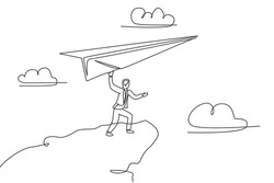 Single continuous line drawing young business man flying big paper airplane from top of hill. Professional businessman metaphor concept. Minimalism one line draw. Graphic design vector illustration