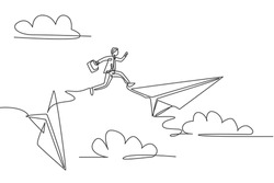 Single continuous line drawing young business man jumping from crash paper airplane to the flying plane. Professional businessman concept. Minimalism one line draw. Graphic design vector illustration