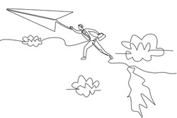 Single continuous line drawing young business man jumping from top mount to reach flying paper airplane. Business metaphor concept. Minimalism dynamic one line draw. Graphic design vector illustration