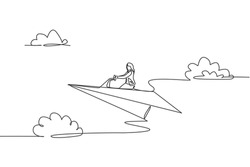 Single continuous line drawing young business woman ride paper plane to achieve business goal. Professional entrepreneur. Minimalism metaphor concept. One line draw graphic design vector illustration