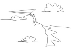 Single continuous line drawing young businessman jumping from cliff edge to reach flying paper airplane. Business metaphor concept. Minimalism dynamic one line draw. Graphic design vector illustration