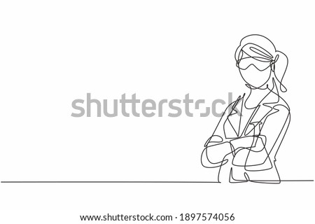 Single continuous line drawing young female scientist wearing goggling and holding flask in lab. Professional work job occupation. Minimalism concept one line draw graphic design vector illustration