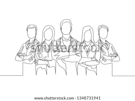 Single continuous single line drawing group of young promising doctors posing standing. Medical teamwork concept one line draw design illustration