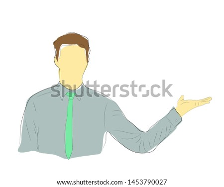 Single continuous single line drawing of  colored Young Business Man  open hand Isolated On White Background