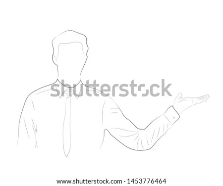 Single continuous single line drawing of   Happy Young Business Man  open hand Isolated On White Background