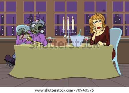 Single elegant blonde girl angry at poor zombie boyfriend in candle light dinner