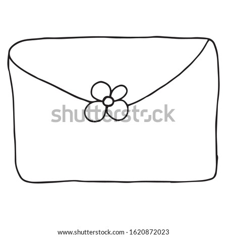 Single envelope. Vector illustration drawn by hand for clothing, poster, textile, fabric, cover, greeting card, decoupage. Scandinavian style. Stock photo ©