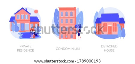 Single family home abstract concept vector illustration set. Private residence, condominium, detached house, land ownership, real estate market, stand-alone household, appartment abstract metaphor. Foto stock ©