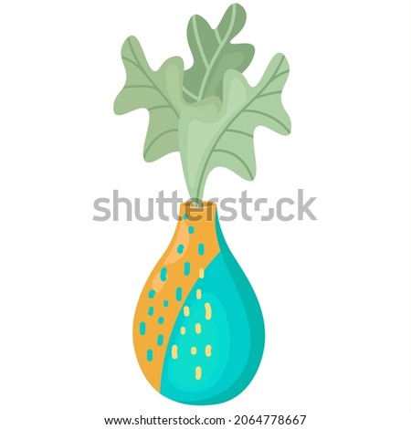 Single floor vase with decorative oak leaves. Interior ceramics Boho with an abstract pattern. Isolated flat vector close up. For printing, decorating web pages, decorating the design of postcards.
