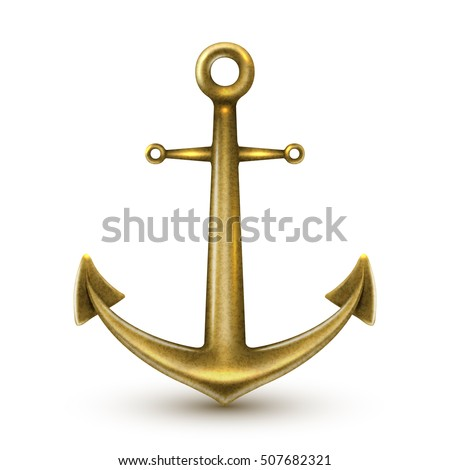 Single golden realistic anchor with metal texture and rings on white background isolated vector illustration