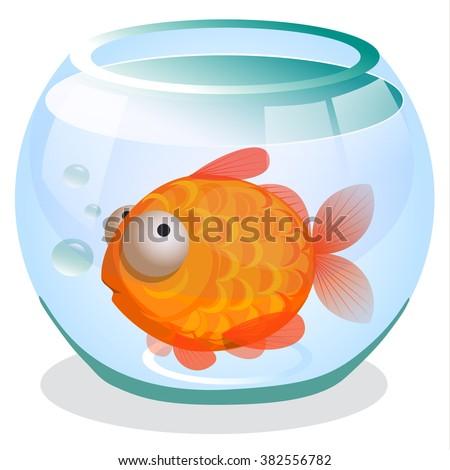 Single goldfish swimming in transparent round glass bowl aquarium cartoon image print. Vector design for app user interface.
