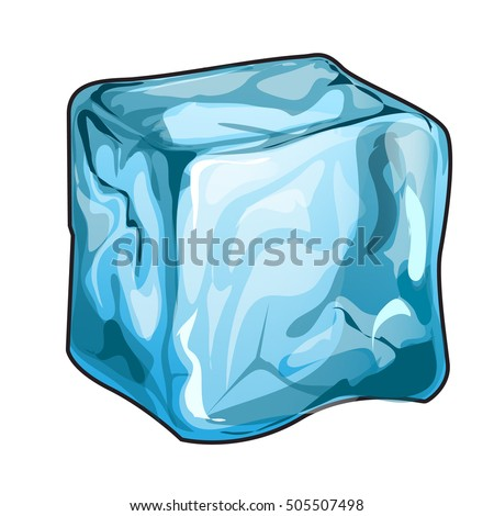 single ice cube isolated on a