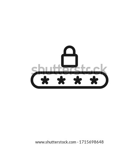 Single icon of a pin code with outline style design Foto stock ©