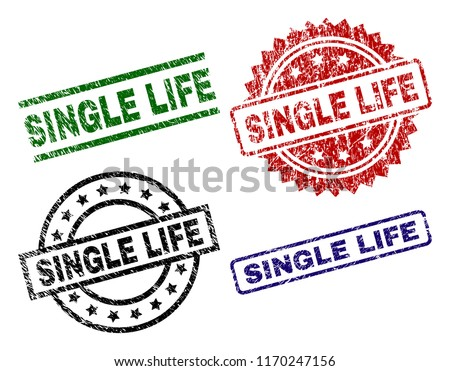 SINGLE LIFE seal prints with damaged texture. Black, green,red,blue vector rubber prints of SINGLE LIFE label with dust surface. Rubber seals with circle, rectangle, medal shapes. Stock photo ©
