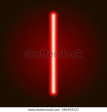 single light red neon letter i