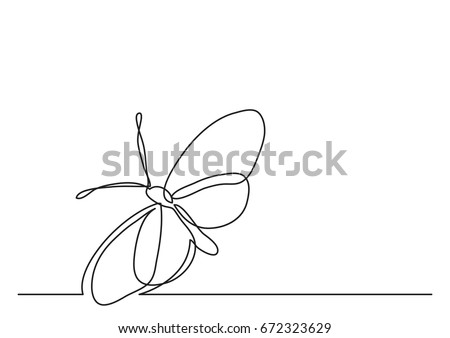Single line drawing of butterfly