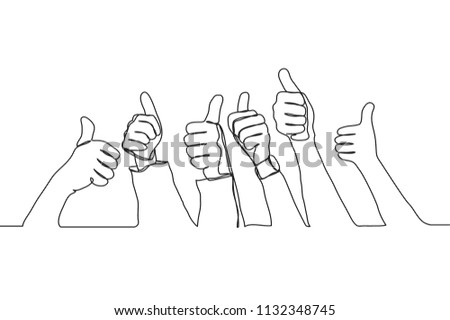 Single line drawing of thumbs up in the air. Celebrate success teamwork. Business group continuous line draw vector illustration