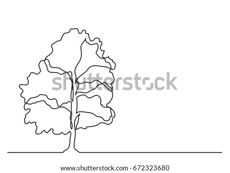 single line drawing of tree