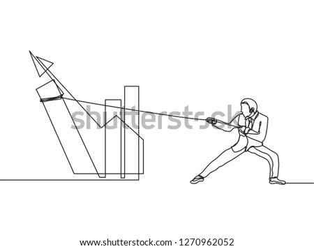 Single line drawing of young businessman work hard to raise company profit graphic using rope. Great leadership. Business concept continuous line draw vector illustration - Vector