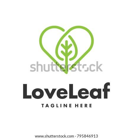 single line leaf and heart logo