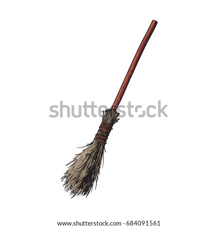 Single old twig broom, broomstick, traditional Halloween symbol, sketch style vector illustration isolated on white background. Hand drawn, sketch style witch broom, broomstick, Halloween object