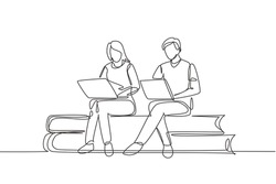 Single one line drawing couple with laptop sitting on pile of books together. Freelance, distance learning, online courses, studying concept. Continuous line draw design graphic vector illustration